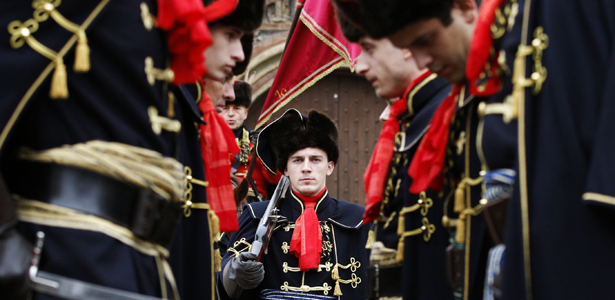 Croatian soldiers in traditional uniform at St. Mark's Square in Zagreb