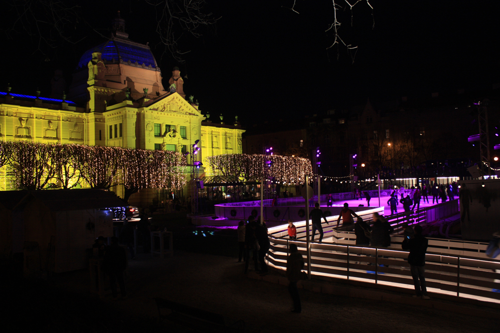 Ice skating rink in Zagreb, during Advent